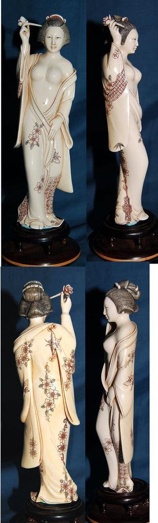 Mammoth Tooth Ivory Geisha Girl with Lotus Hair Pick - One Only!