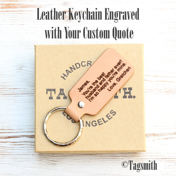 Leather Keychain Engraved with Your Custom Quote