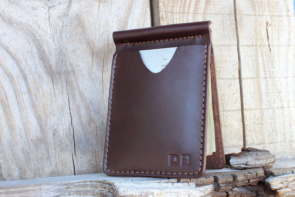 cbe1a826fc7b Leather Money Clip Wallet - Tagsmith - Handmade Leather Goods