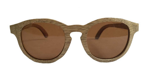 Vintage Retro Circle Hipster Wooden Sunglasses