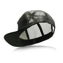 Load image into Gallery viewer, Mato Snapback Trucker Hat Happy Camper Flat Brim Baseball Cap Black