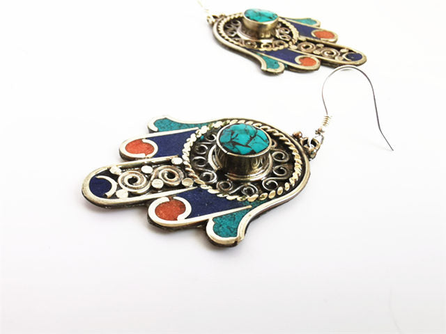 Hamsa Hand Carved Earring Buddha Hand Copper Inlaid Colorful Stone Ethnic Ear Rings