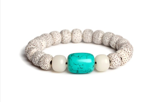 Natural Moon Star Lotus Prayer Malas Turquoise Barrel Bodhi Seed Bead white Jade Stone Bracelets