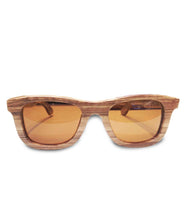 Load image into Gallery viewer, Mato Wood Wayfarer Sunglasses Polarized Brown Lens 55mm Bamboo Wooden Sunglass Case