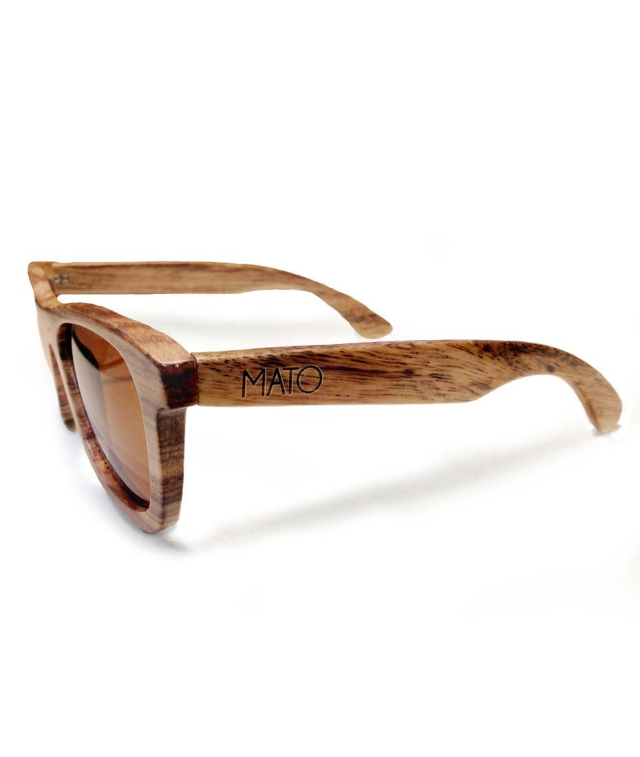 eb5e3a820b Mato Wood Wayfarer Sunglasses Polarized Brown Lens 55mm Bamboo Wooden -  matonaturals