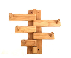 Mato Bamboo Wood Bathroom Wall Mount Towel Hanger Holder Bar Organizer