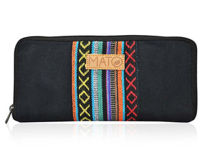 Mato Boho Womens Wallet Bohemian Wristlet Clutch Purse Woven Baja Pattern Black