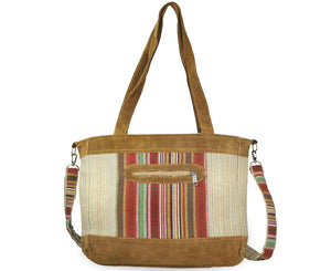 Mato Travel Shoulder Allo Tote Bag Boho Bohemian Tribal Aztec Pattern Suede Leather Brown