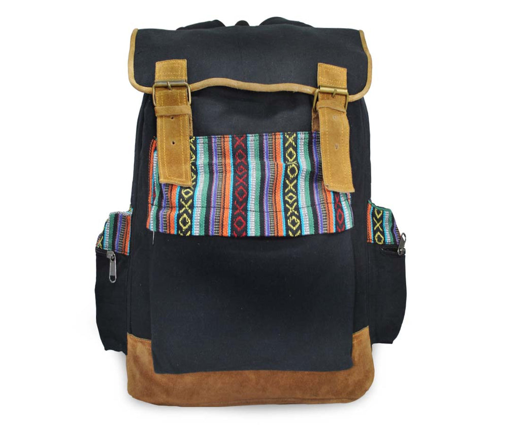 Funtoosh Boho Backpack Travel Rucksack Bohemian Woven Aztec Pattern Black