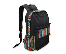 Load image into Gallery viewer, Mato Canvas Backpack Boho Bohemian Tribal Aztec Pattern Black Laptop Bag Daypack