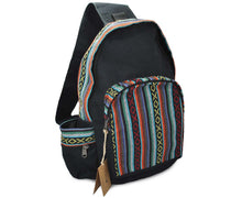 Load image into Gallery viewer, Mato Canvas Boho Sling Bag Backpack Bohemian Tribal Aztec Pattern Shoulder Crossbody Daypack Black