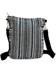 Load image into Gallery viewer, Mato Travel Canvas Crossbody Bag Zipper Purse Geometric Woven Patterns Vegan Leather Trim