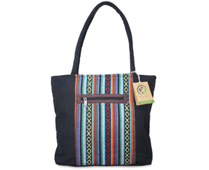 Mato Boho Tote Bag Canvas Top Handle Shoulder Handbag Tribal Aztec Pattern Black