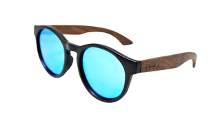 Mato Handmade Eco-friendly Fashion Wooden Bamboo Handle Erika Round Shaped Unisex Polarized Blue Mirror Sunglasses
