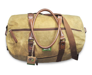 Duffel Bag Travel Weekender Handbag Waxed Canvas Vegan Leather Trim Brown Large, Overnight Bag