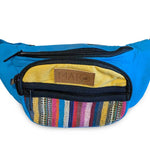 Mato Dual Pocket Convertible Canvas Fanny Pack Multi Color Aqua Blue