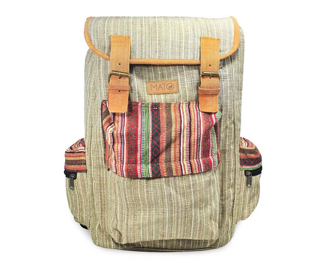 Funtoosh Boho Hemp Backpack Rucksack Baja Woven Aztec Pattern Brown