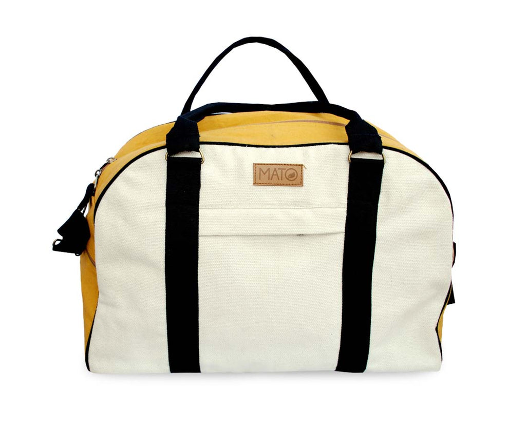 Duffel Bag Overnight Travel Weekender Luggage Carry On Handbag Mustard Multi Color Canvas