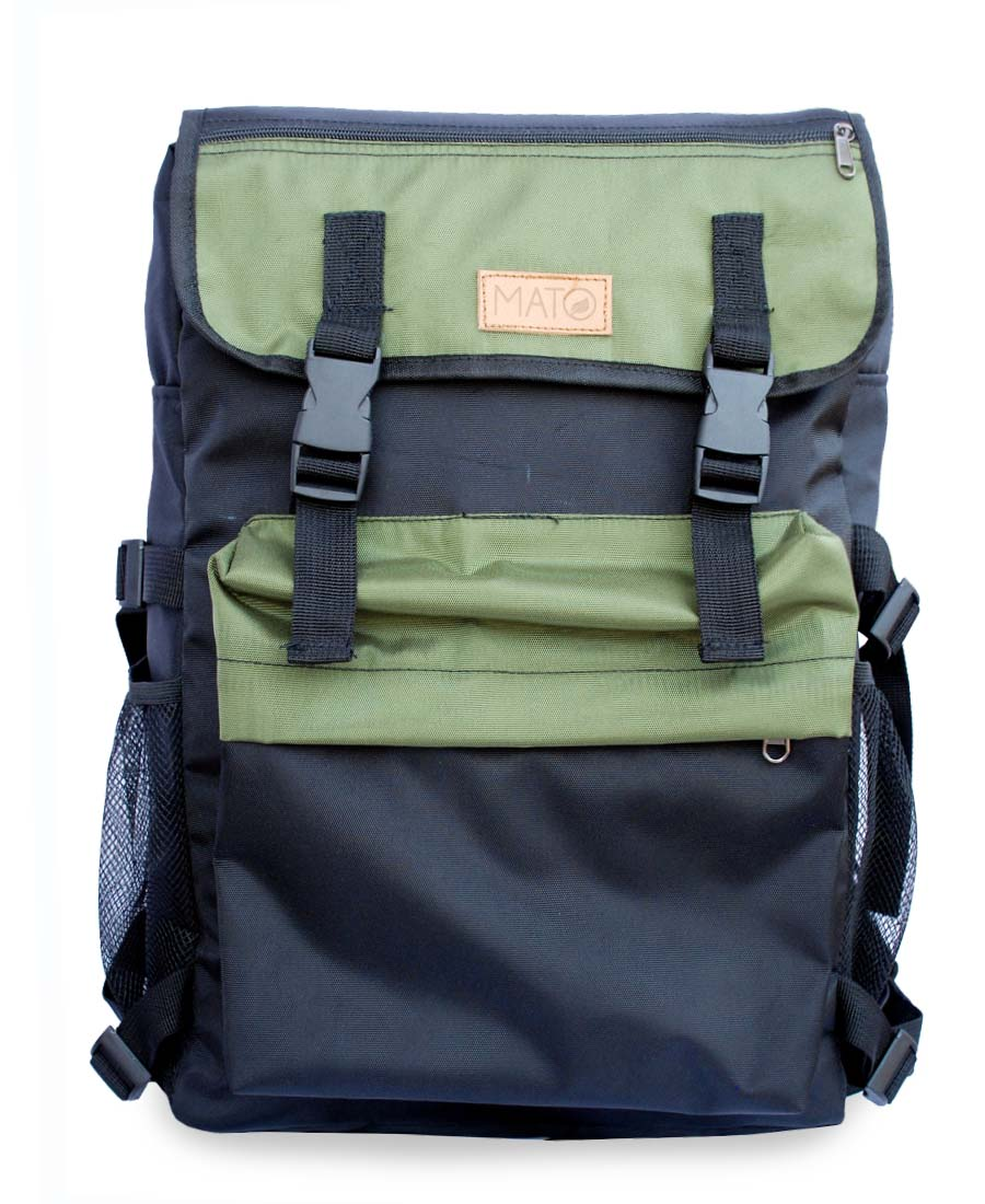 Dual Lock Front Panel Travel Backpack Rucksack Black