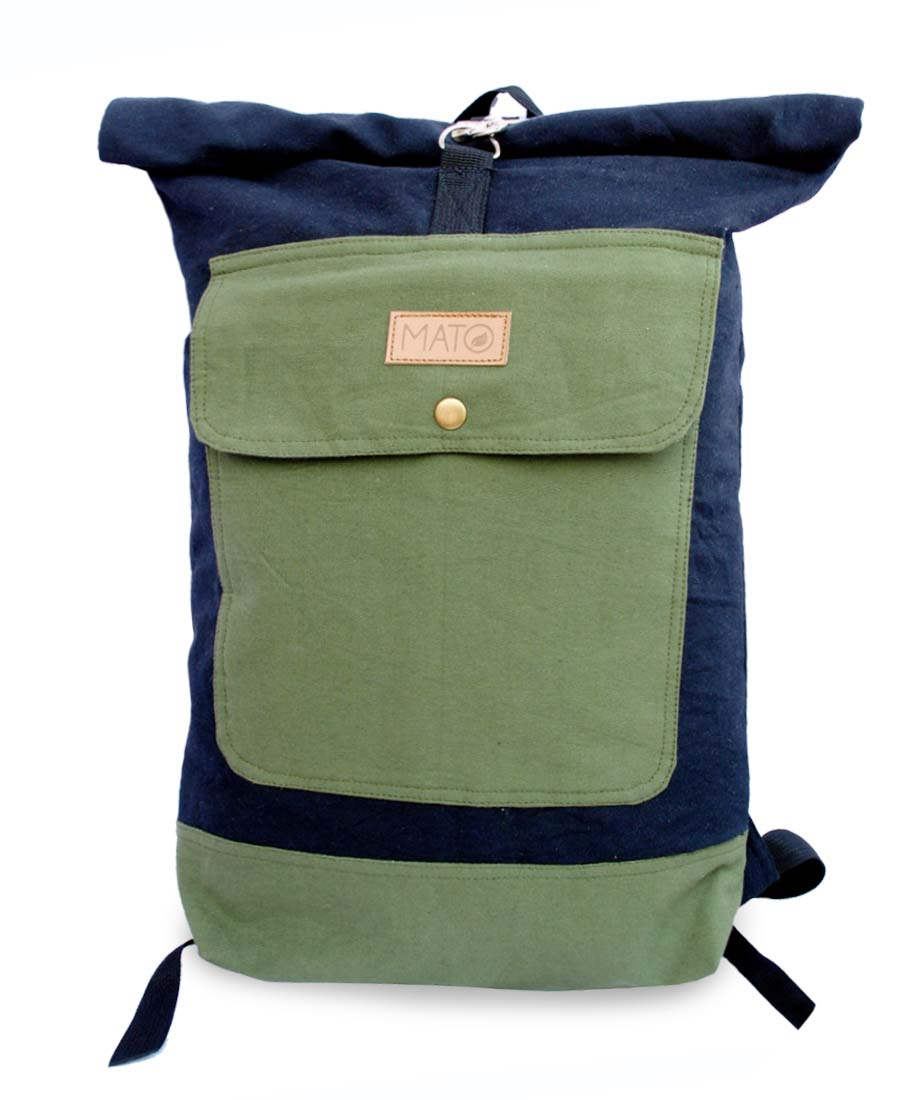Mato Rolltop Backpack Washed Canvas Laptop Bag Rucksack Daypack Green