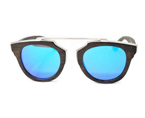 Mato Metal Frame T-Bar Mirrored Retro Wooden Sunglasses with Bamboo Case