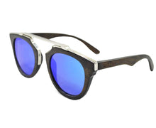 Load image into Gallery viewer, Mato Metal Frame T-Bar Mirrored Retro Wooden Sunglasses with Bamboo Case