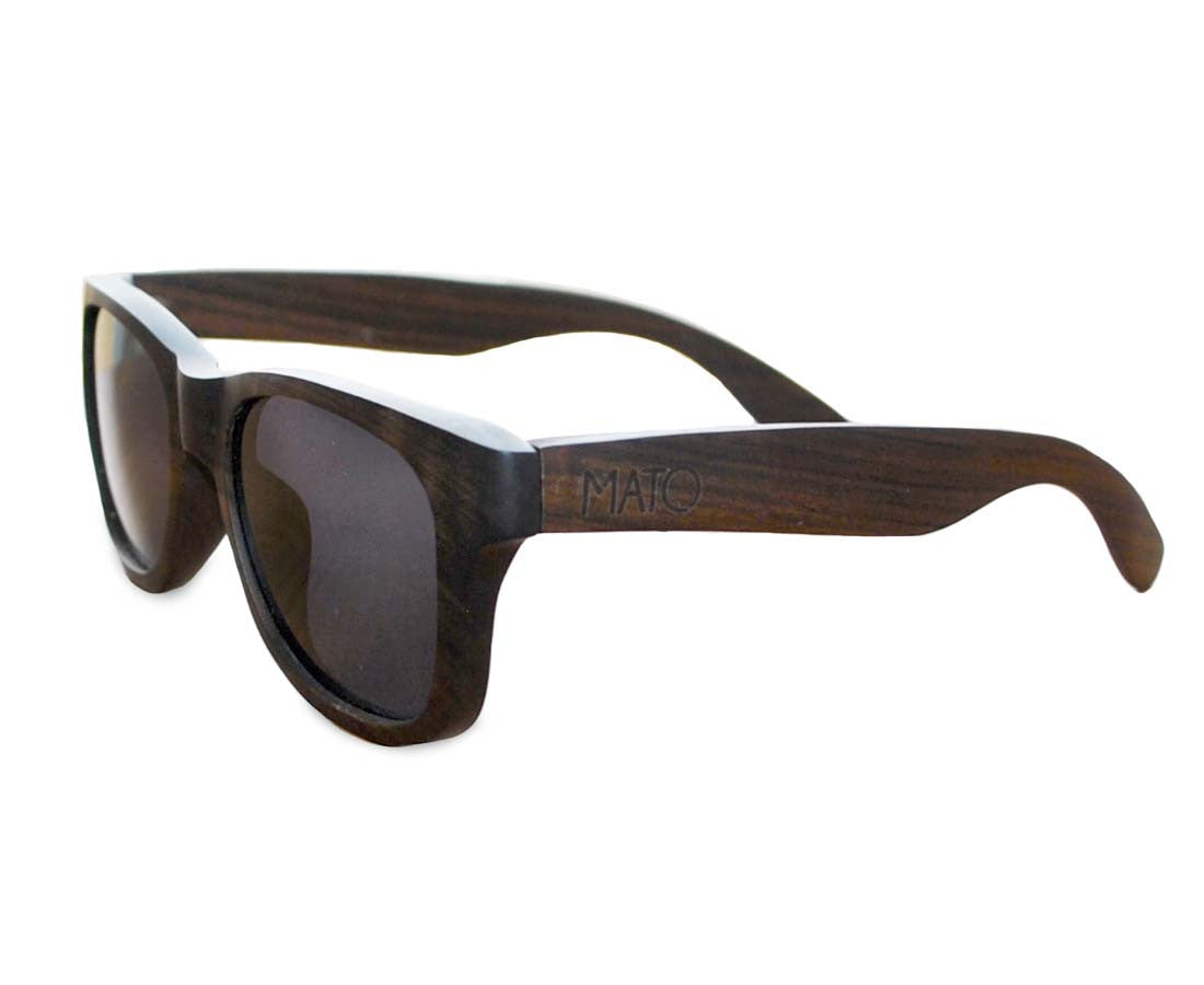 a8c7995085 Mato Wooden Wayfarer Sunglasses Polarized Black Lens 55mm Bamboo Wood -  matonaturals