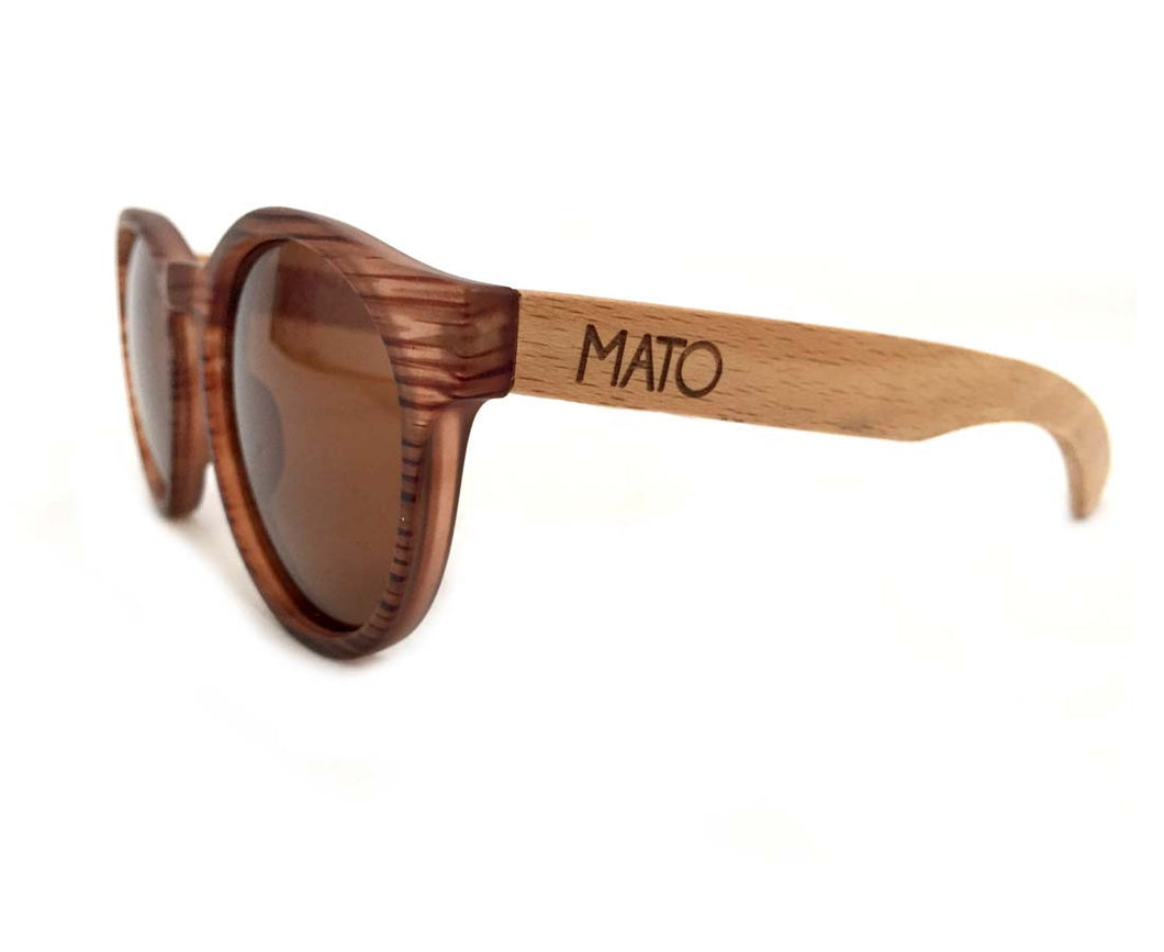 Mato Handmade Eco-friendly Wooden Sunglasses with Bamboo Handle Erika Round Shaped Unisex Polarized Sunglasses Brown Lens