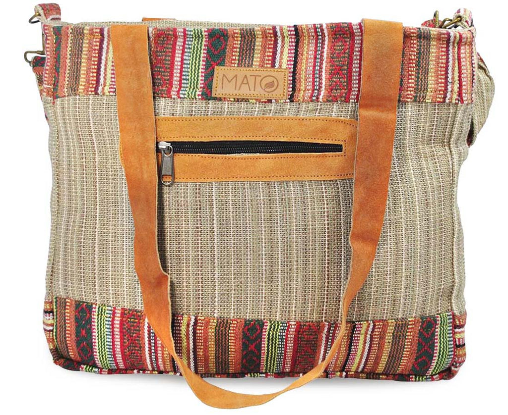 Mato Naturals Travel Allo Tote Shoulder Crossbody Handbag Brown with Patterns