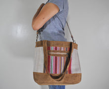 Load image into Gallery viewer, Mato Travel Shoulder Allo Tote Bag Boho Bohemian Tribal Aztec Pattern Suede Leather Brown