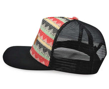 Load image into Gallery viewer, Mato Woven Trucker Hat Snapback Flat Brim Boho Tribal Aztec Pattern Baseball Cap Black