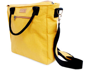 Mustard Canvas Crossbody Tote Bag