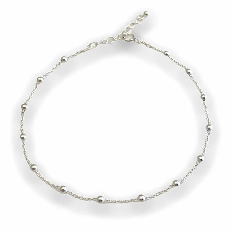 Beaded Silver Anklet