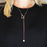 Lariat Necklace - Rose Gold