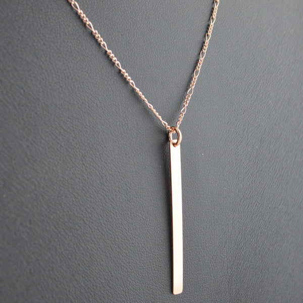 Vertical Tag Necklace - Rose Gold