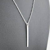 Vertical Tag Necklace - Silver