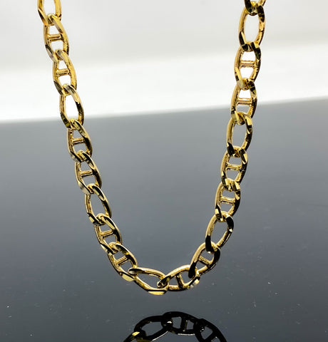 Diamond Cut Mariner & Elongated Oval Link Necklace