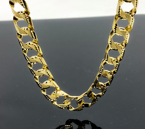Diamond Cut Double Sided Gourmette Style Link Necklace