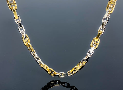 Two Tone Mariner & Cubed Oval Link Necklace