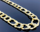 "Diamond Cut Double Sided Nugget Pressed Figaro Link Necklace (28""/80.2g/10kt)"