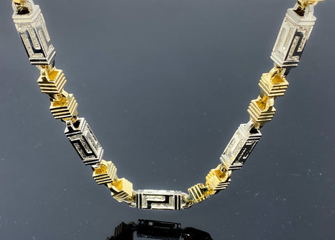 "Block Greek Style Two Tone Link Necklace (28""/119.7gr/10kt)"