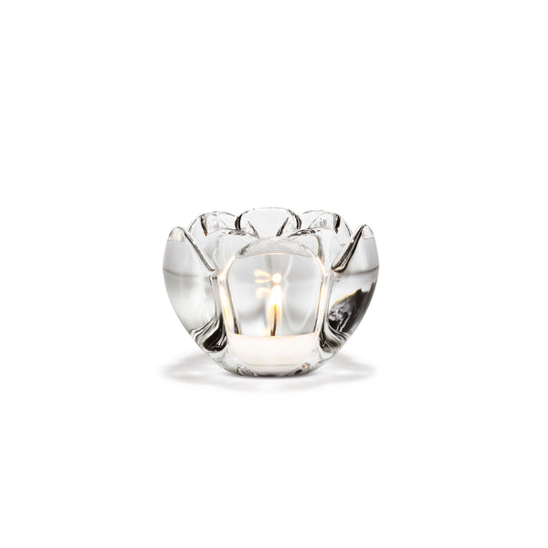 Lotus Tealight Holder, Clear, 2.8""