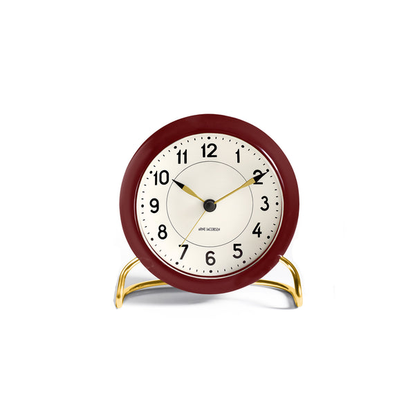 Arne Jacobsen Station Table Alarm Clock, Red/Gold, 4.3""
