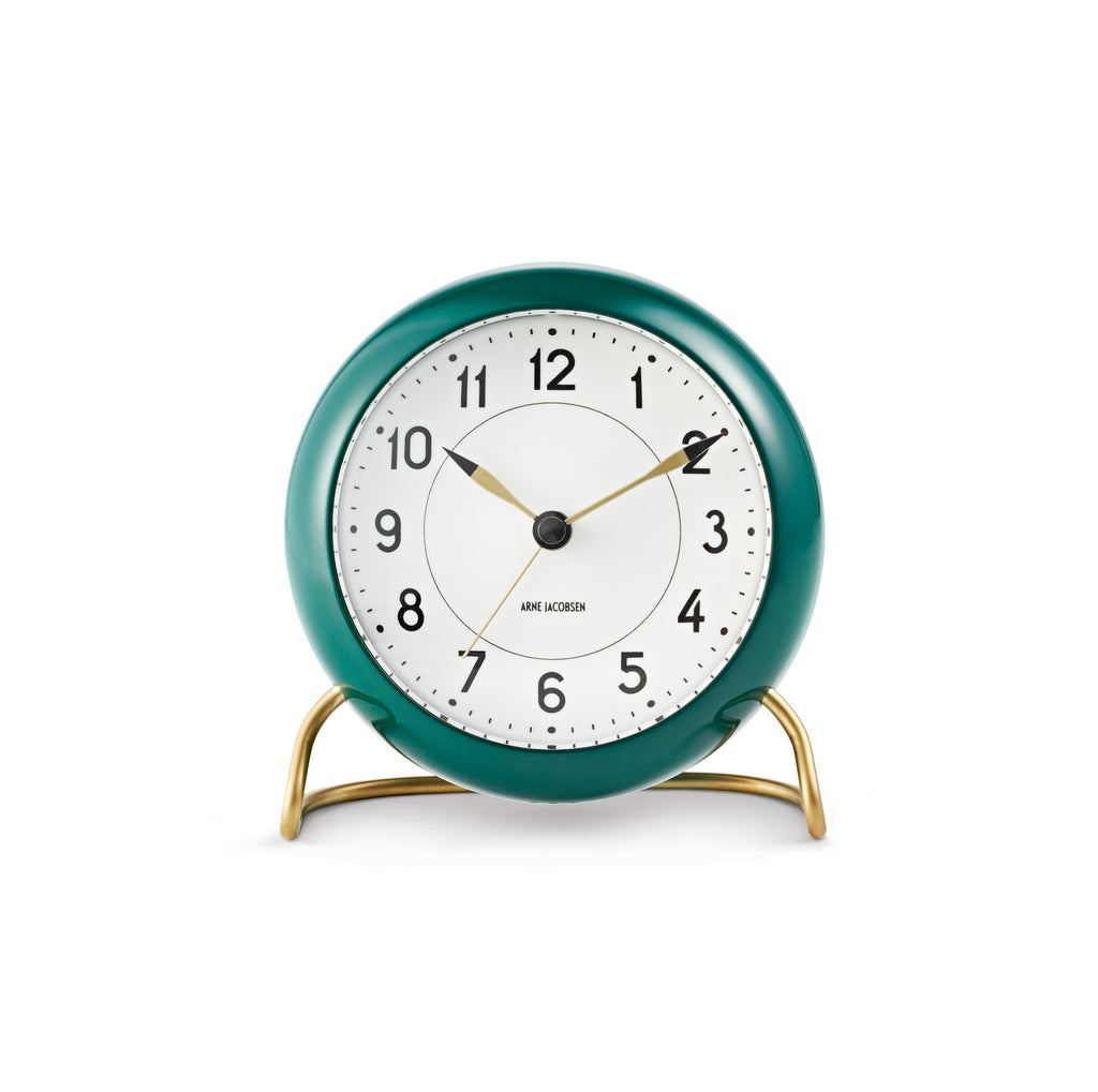 Arne Jacobsen Station Table Alarm Clock, Green/White, 4.3""