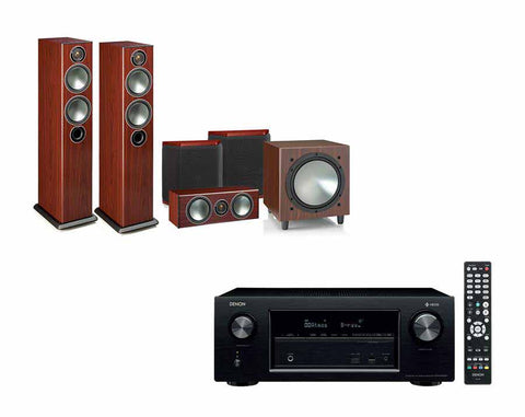 DENON AVR-X2400H AV Receiver With HEOS & Monitor Audio Bronze 5 - 5.1 Speaker Package