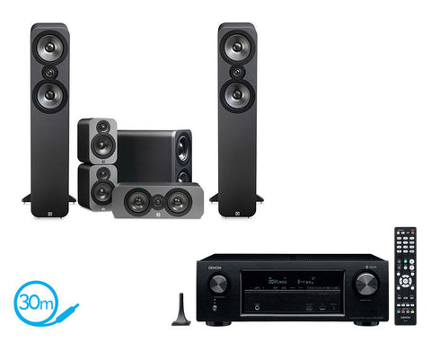 DENON AVR-X1400H AV Receiver & Q Acoustics Q3050 - 5.1 Speaker Package