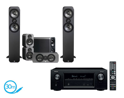 DENON AVR-X2400H AV Receiver With HEOS & Q Acoustics Q3050 - 5.1 Speaker Package