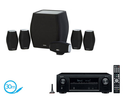 DENON AVR-X1400H AV Receiver & Monitor Audio MASS - 5.1 Speaker Package