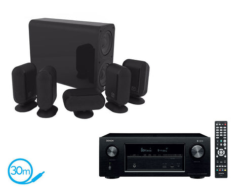 DENON AVR-X2400H AV Receiver With HEOS & Q Acoustics Q7000i Plus - 5.1 Speaker Package