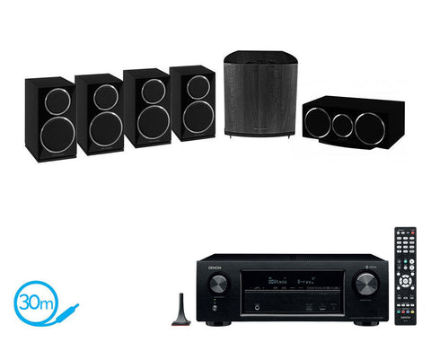 DENON AVR-X1400H AV Receiver & Wharfedale Diamond 220 HCP - 5.1 Speaker Package